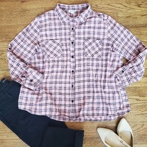 Janette Plus Pink and Black Flannel Button Down